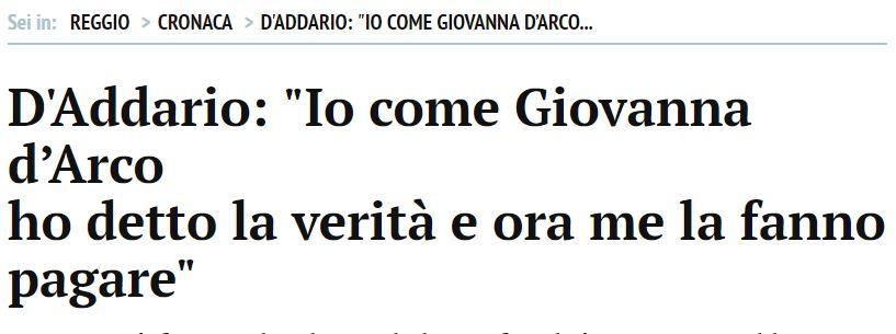 Patrizia D'Addario come Giovanna D'Arco («Gazzetta di Reggio», 6 febbraio 2010)