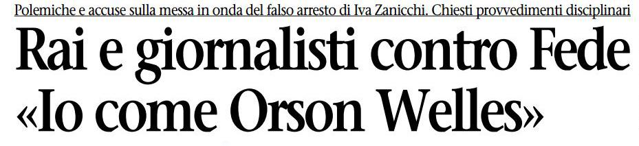 Emilio Fede come Orson Welles («l'Unità», 27 febbraio 1998)