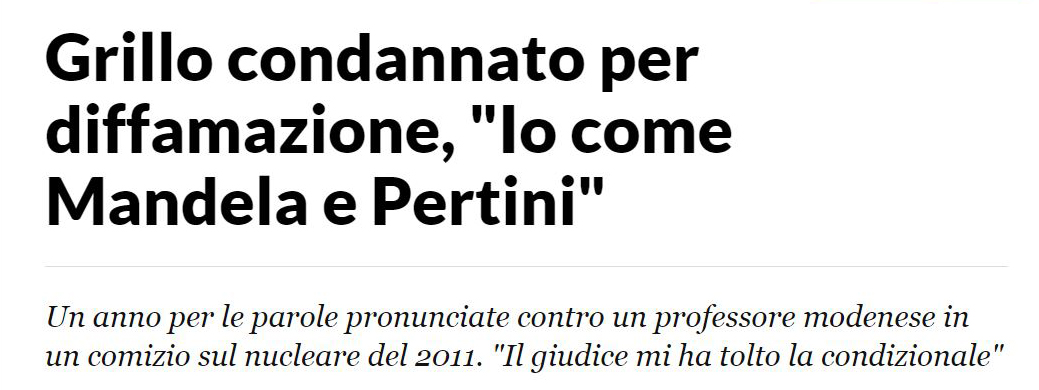 Beppe Grillo come Nelson Mandela («La Stampa», 14 settembre 2015)