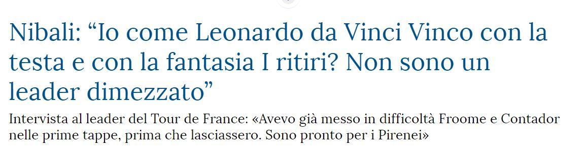 Vincenzo Nibali come Leonardo da Vinci («La Stampa», 21 luglio 2014)
