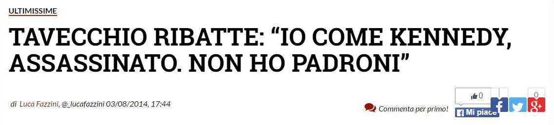 Tavecchio come Kennedy («GazzaNet», 3 agosto 2014)